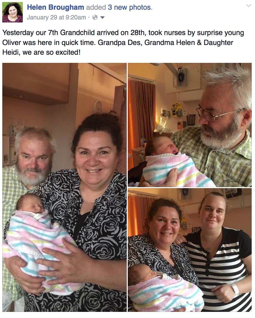 Grandparents Des & Helen with OLIVER